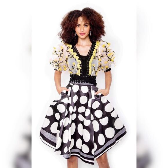 SotheaStudio Dresses & Skirts - tulle see-through lace  blouse + satin slit skirt